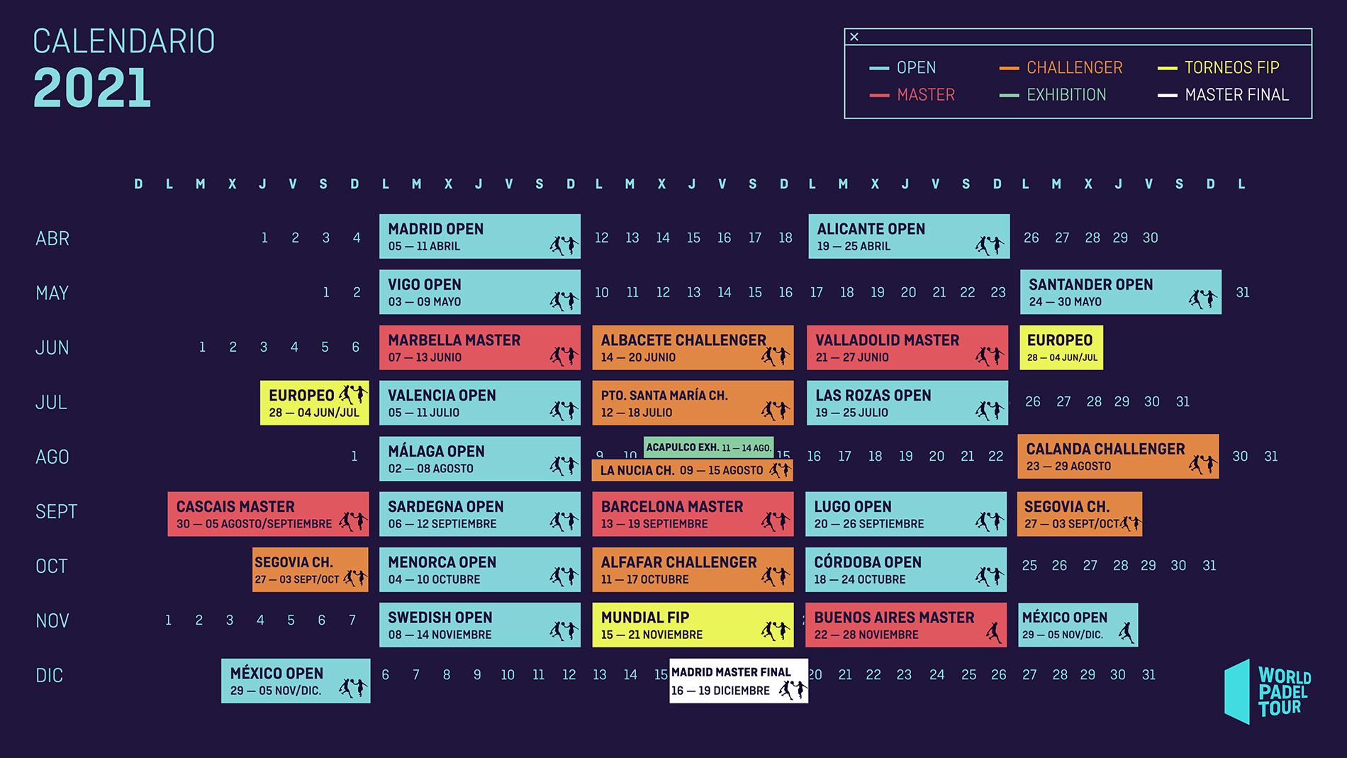 Календарь 2021 года турниров мирового первенства по игре в падел WPT