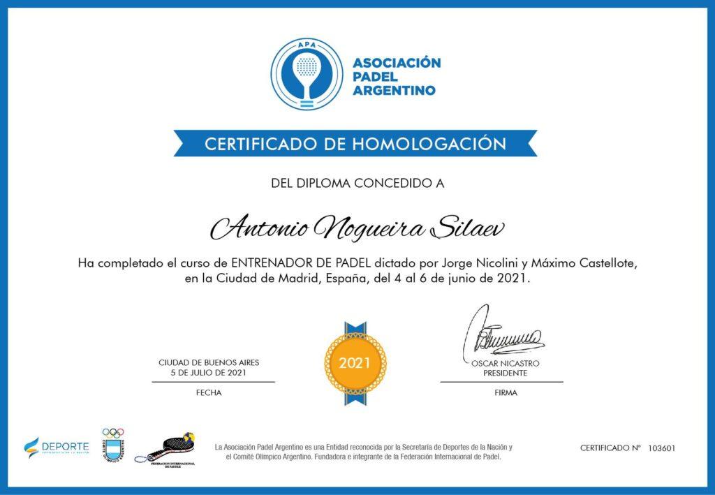Certificado APA AN trener padel